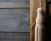 Vintage - Wood Beaded Tassel - Natural Wood Tone