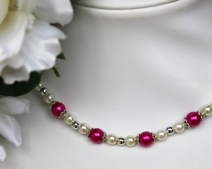 Plum and Pearl Bridesmaids Necklace