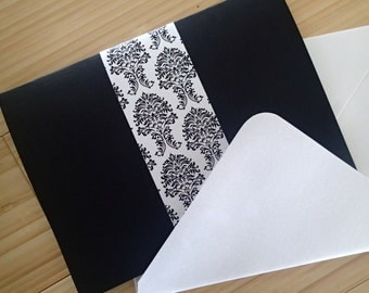 Elegant wedding invitation, damask wedding invitation, flourish invitation, black, white, purple wedding invitation