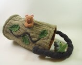 Waldorf Toy Bag,fun toy bag for woodland play, eco friendly toy, all natural toy, upcycled toy, waldorf toy