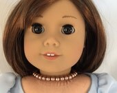 American Girl Sized Beaded Choker Necklace made of Brown pearls
