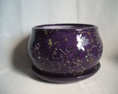 Large Orchid Pot Planter With Dragonflies and Flowers