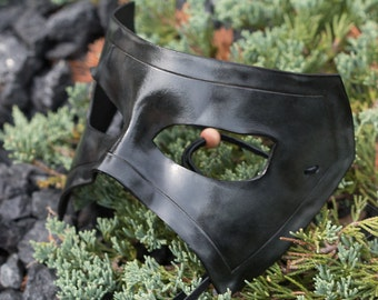 Charcoal Black Masquerade Leather Mask
