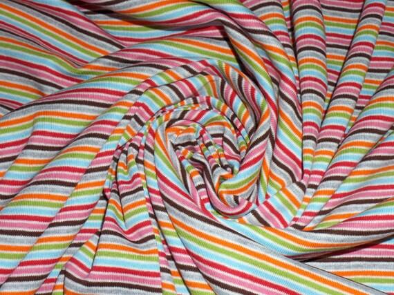 Kids cotton knit fabric yarn dyed rainbow stripes cotton for Kids knit fabric