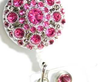 Magenta Pink Swarovski Crystal and Rhinestone Embellished ID Badge Reel
