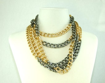 100 inch Gold and Gunmetal Chain Wrap Necklace (BoyJewels)