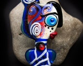 Madame Mizu - future Girl - *Beautiful faces/ Freak heads*- Modern Glass Art - Unique, Statement focal Bead - by Michou P. Anderson