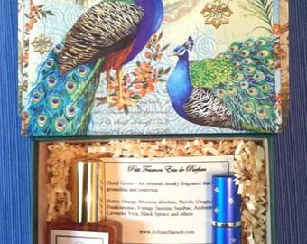 Natural Perfume Gift Box, luxury natural perfume, organic artisan perfume, travel spray, botanical perfume, rose, jasmine, floral perfume,