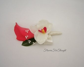 Coral Calla Lily Boutonniere Real Touch, Groomsmen Buttonhole Flower, Cream Orchid