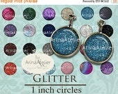 30% OFF SALE - Glitter CIRCLES 1 inch - Digital Collage Sheet for Earrings - Bottlecaps - Pendants - Magnets - Bijoux Circles - 1 inch circl