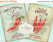 30% OFF SALE - CARDS Shabby Chic Chili Pepper - Digital Collage Cards - Home Decor Images - Digital Printables - Background Cards - Scrapboo