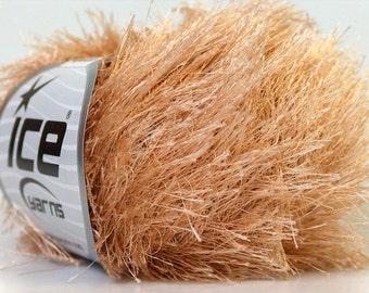 light  brown eyelash yarn bulky chunky 50gr 22750 polyester ice yarns usa craft rug 1 skein fancy fur turkishmarket usa