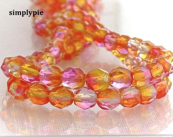Sunset Czech Glass Beads Fire Polished 6mm 25 Multi Tone Yellow Orange Pink Faceted Round GLass