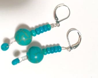 Turquoise bead earrings for her with silver lever back ear wire.