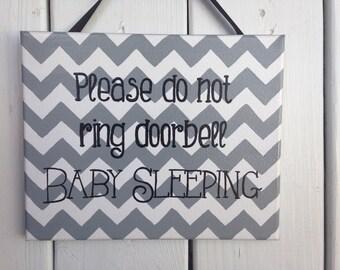 Baby sleeping please do not ring doorbell sign, quiet baby sleeping