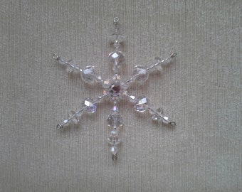 Two Glass Beaded Snowflake Christmas Tree Ornaments