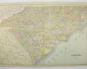 North Carolina Map South Carolina, Mississippi Map Alabama 1891 Vintage Map, Southern Wedding Gift for Couple, NC Map SC AL Map ms