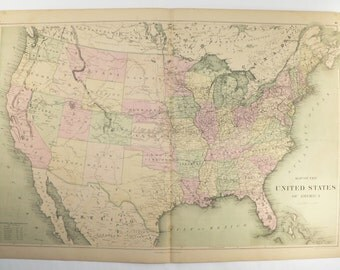 Antique United States Map 1873 Large Vintage Map United States, USA Map, US Historical Map, Man Cave Decor Gift for Him, USA Gift for Her