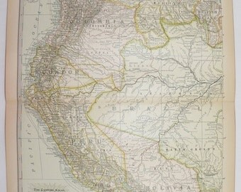 Vintage Map Venezuela, Colombia Map, Ecuador Peru Map Bolivia Brazil Map 1901 NW South America Map, Genealogy Research, Geography Art Gift