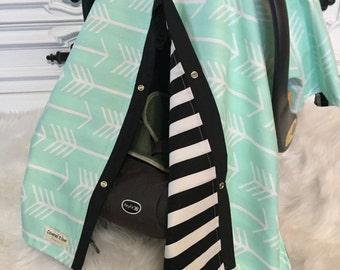 Car seat canopy mint arrow black stripe