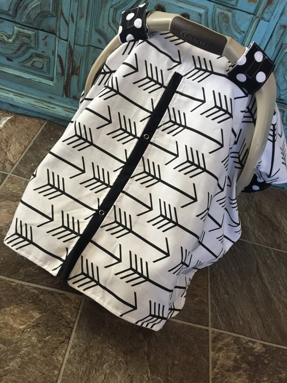Carseat Canopy black and white arrow print