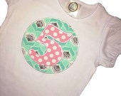 Private Listing- Camden's Collection 18m Birthday Applique Number Tee, Birthday Girl T-Shirt, Pink Tada Polka Dots on Mint Water Lillies Cir