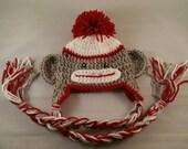 Newborn Sock monkey hat, crochet monkey hat, christmas sock monkey hat, christmas photo prop