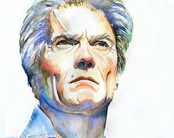"""CLINT EASTWOOD, Art Print from Original Watercolor Painting Hollywood film star, """"Make my day.""""Custom watercolor portrait"""
