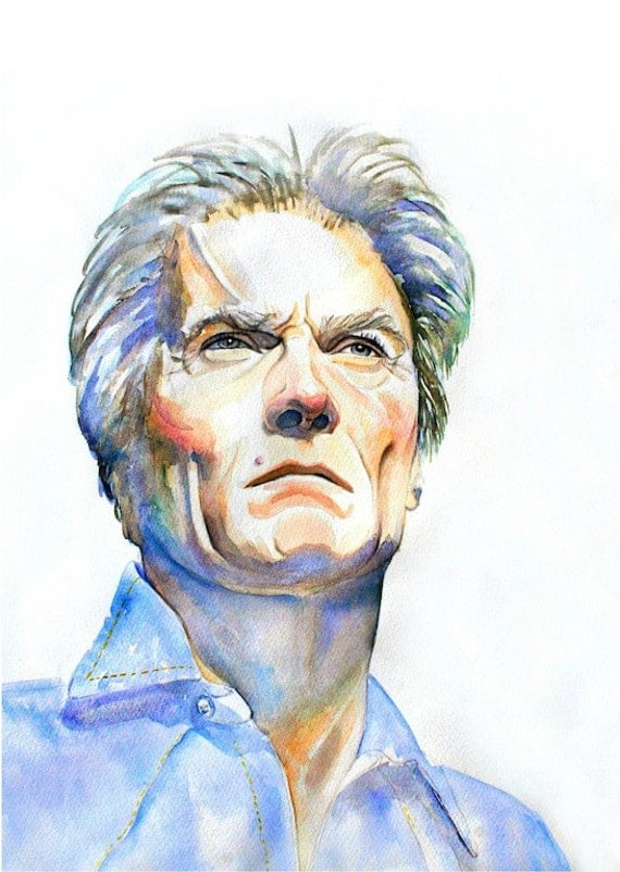 "CLINT EASTWOOD, Art Print from Original Watercolor Painting Hollywood film star, ""Make my day.""Custom watercolor portrait"
