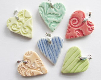 Porcelain Hearts, Your Choice Necklace Heart Charms, Hand Crafted Porcelain Heart Charm, Valentine Heart, Focal Heart,
