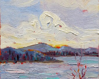 First Light, a 6 x 8 (15 x 20cm) oil painting on canvas board.  Berg. Montagne. See.  Lac. Framed. Yvonne Wagner. Landscape.