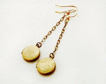 Tiny Locket Earrings, Dangle Earrings, Round Lockets, Vintage Locket, Keepsake Jewelry