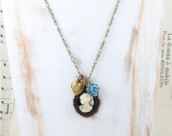 Cameo Necklace, Locket Necklace, Heart Jewelry, Blue Flower Jewelry, Bridesmaid Gift