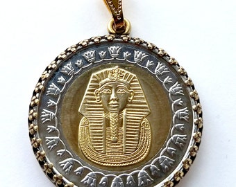 Pharaoh Tutankhamun Egyptian Coin Pendant Gold Silver King Tut Ancient Egypt Jewelry Necklace Royal Unique Charm Finding Bead