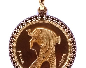 Egyptian Pharaoh Cleopatra Gold Color Coin Ancient Egypt Jewelry,Cleopatra Necklace,Egyptian Charms Egyptian Jewelry Egyptian Necklace