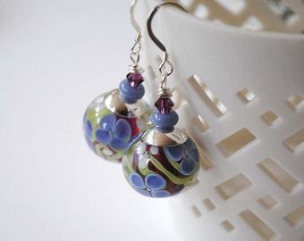 Purple Flower Earrings, Lampwork Glass Earrings, Floral Earrings, Garden Earrings, Artisan Lampwork Earrings