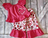 Girls Custom Valentines Day Outfit- Peasant Top- Ruffle Pants- Baby Toddler Infant Set- 3 6 12 18 24 Months 2 3 4 5 6 7 8 10 Years