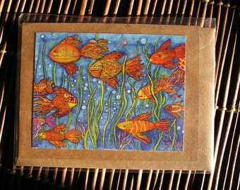 3D Goldfish Card    Blank Art Card