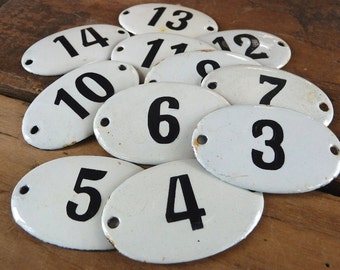 Antique Porcelain Hotel Door Number Sign - Many Numbers Available