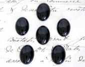 Oval Black Onyx Cabochons - 18x13mm or 25x18mm Loose Semi-Precious Gemstones