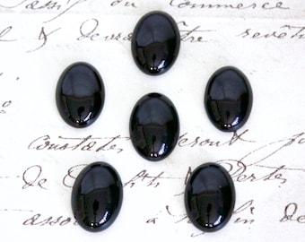 Oval Black Onyx Cabochons - 18x13mm or 25x18mm Loose Semi-Precious Gemstones