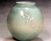 Porcelain pottery , hand made, ceramic vase copper blue with crackle glaze celadon blue for home decoration or wedding gift.