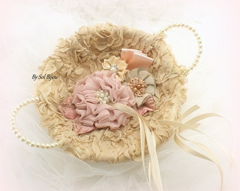 Ring Bearer Tray, Ring Tray, Rose, Blush, Champagne, Tan, Ivory, Shabby Chic, Elegant, Vintage Wedding, Alternative Pillow,Round Tray,Pearls
