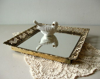 Vintage square mirror tray Vanity tray Mirrored dresser tray