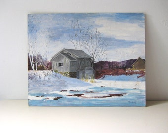 Vintage original acrylic painting Vintage original art Winter scene painting