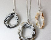 ON SALE Silver Geode Necklace - Choose Your Geode Pendant - Geode Slices