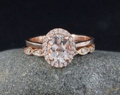 VALENTINES DAY SALE Pink Morganite and Halo Diamond Ring – Engagement Ring – Vintagae Miligrain Leaf Diamond Band