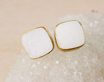 Gold White Druzy Cushion Studs - Square Studs - Choose Your Pair