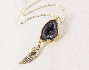50% OFF Gold Tabasco Druzy & Angel Wing Necklace - 14K Gold Filled