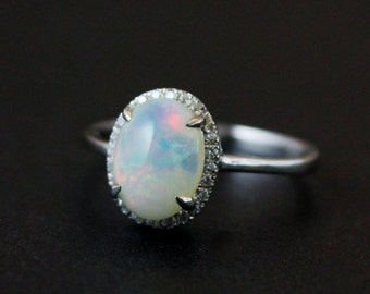 VALENTINES DAY SALE Halo Diamond Australian Opal Ring - Silver Opal Ring - Engagement Rings - Pave